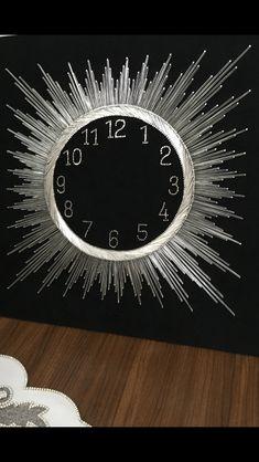 Filografi Thread Art, Thread Painting, Tree Wall Decor, Tree Wall Art, Sunburst Clock, Indoor Crafts, String Art Patterns, Clock Art, Textile Fiber Art