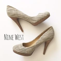 """Beige Woven Platform Heel Flirty and fun platform pump by Nine West. ▪️Natural-colored woven tapestry fabric ▪️5"""" heel ▪️3/4"""" at platform ▪️Like new  🚭 Smoke-free home 📬 Ships by next day 💲 Price negotiable  🔁 Open to trades  💟Happy Poshing!💟 Nine West Shoes Heels"""