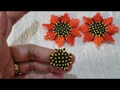 Beaded Flowers Patterns, Beaded Jewelry Patterns, Beading Projects, Beading Tutorials, Beaded Earrings, Crochet Earrings, Decorating Flip Flops, Beaded Bracelets Tutorial, Bead Jewellery