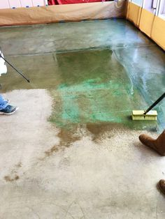 Acid staining is easy and gives you a unique and inexpensive new concrete floor covering. Just follow this step-by-step guide with pictures!                                                                                                                                                                                 More