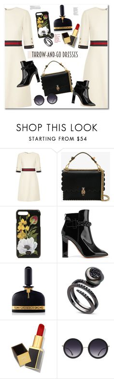 """Get the look Dress"" by vkmd ❤ liked on Polyvore featuring Gucci, Fendi, Dolce&Gabbana, Valentino, Tom Ford, Alice + Olivia and easydresses"