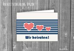 Hochzeitskarten - Hochzeit Einladungskarte - Herzen II - ein Designerstück von maillou-design bei DaWanda