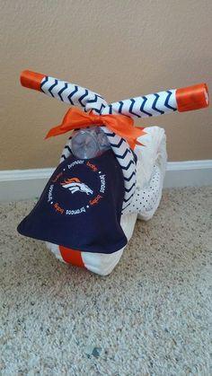 Denver Broncos Orange and Blue Diaper Cake Diaper by mrsbabycake