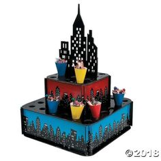 Set out party snacks in style and let all your superheroes savor being the savior of the city thanks to this Superhero City Tray with Cones. A fun table ...