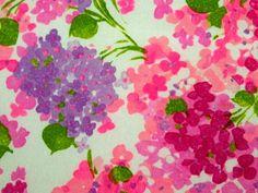 Think Pink 60s Stylized Hydrangea Design Fabric