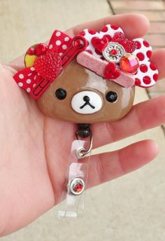 Retro Hearts and Bows Nurse Rilakkuma Id Badge Reel Holder  | evezbeadz - Accessories on ArtFire// FREE SHIP Id Badge Reels, Rilakkuma, Lanyards, Red Glitter, Badge Holders, Nurses, Diy And Crafts, Hello Kitty, Coupon