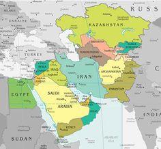 Middle East Countries Map Armenia Azerbaijan Turkmenistan - Map of egypt jordan and syria