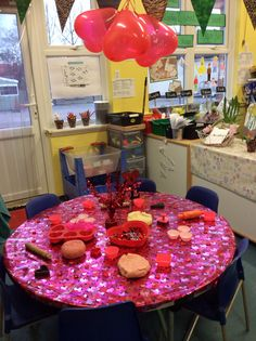 Valentine creation station, different shades of pink, what's going to happen, lovely activity would use this idea again.