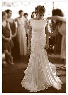 Carol Hannah beaded and eyelet wedding dress