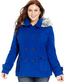 Dollhouse Plus Size Coat, Hooded Faux-Fur-Trim Pea Coat//Macy's ...