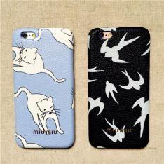 イタリアファッションブランドmiumiuミュウミュウ猫ネコブルー可愛いiphone6S plusケースカップル向け男女ペアiPhone7/6s/6携帯カバー革貼り薄いハードケース