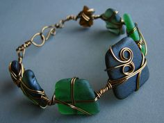 Seaglass bracelet  wire wrapped  green and by ZamzamCreations, $60.00