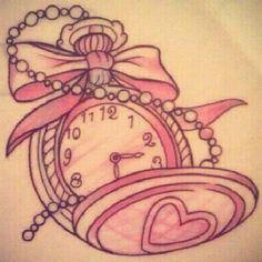 girly pocket watch tattoo