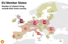 Which EU country has the most citizens living abroad? Answer: the United Kingdom Read more: Our silly ways of talking about immigration in the West Elizabeth Ii, Migration Crisis, Refugees, European Union Members, Eu Countries, World Economic Forum, Interactive Map, Cartography, Queen Elizabeth