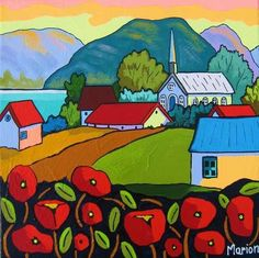 Le chacha des coquelicots by Louise Marion - Louise Marion, Quebec Pop Art, Art Fantaisiste, Canadian Painters, Art Drawings For Kids, Landscape Quilts, Naive Art, Whimsical Art, Painting Inspiration, Kitsch
