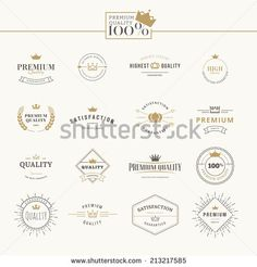 Set of premium quality labels and badges - stock vector