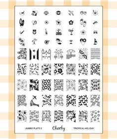 Nail Art Jumbo Stamp Stamping Manicure Image Plate 2 Tropical Holiday by Cheeky®