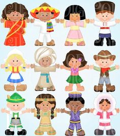 Children Around the World Digital Clip Art Set -Personal and Commercial-Child, a . - Children Around the World Digital Clip Art Set -Personal and Commercial-Child, Ethnic, Costumes, Gl - Kids Around The World, Around The Worlds, Image Clipart, Dashboard Design, Craft Sale, Art Education, Art Images, Etsy, Paper Dolls