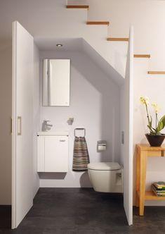 20 Incredible Bathroom Design Under Stairs For Unique Bathroom Inspiration – Home living color wall treatment kitchen design Bathroom Under Stairs, Basement Bathroom, Toilet Under Stairs, Basement Stairs, Open Basement, Remodel Bathroom, Basement Ideas, Condo Bathroom, Bathroom Blinds