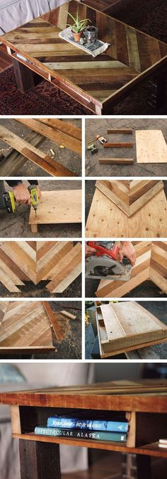 DIY Tables You Can Build Yourself DIY Chevron Table // Great DIY pallet table with the chevron pattern.DIY Chevron Table // Great DIY pallet table with the chevron pattern. Mesa Chevron, Table Chevron, Furniture Projects, Wood Projects, Diy Furniture, Furniture Plans, Bedroom Furniture, Furniture Design, Concrete Furniture