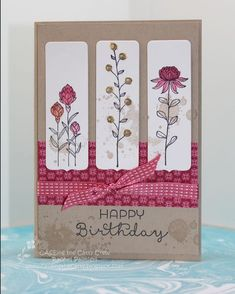 Stampin' Pals: Field Flower Fantasy CQC [used framelit from Chalk Talk for each panel] Birthday Cards For Women, Happy Birthday Cards, 70th Birthday, Female Birthday Cards, Flower Birthday Cards, Unicorn Birthday, Homemade Birthday Cards, Homemade Cards, Tarjetas Stampin Up