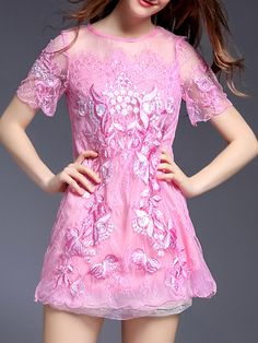 Hot Pink Gauze Embroidered Lace Shift Dress