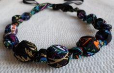 11 Bead Fabric Wooden Beaded Nursing Necklace by RubyRebels, $11.99