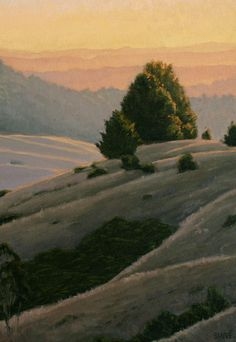 Sonoma Hills at sunset, Northern California Landscape Painting, Sonoma County, Coastal Hills of California, California landscape painting, original oil painting http://terrysauve.com