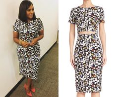 Mindy's floral print dress worn on Good Morning America!