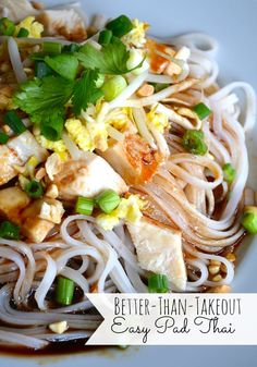 8 ounces pad Thai noodles   2 eggs   3 tablespoons soy sauce   1 tablespoons sriracha   2 tablespoons lime juice   2 tablespoons canola oil   2 tablespoons brown sugar   3 cooked chicken breasts, sliced   1 cup fresh bean sprouts   1 cup cilantro   3 scallions, thinly sliced   1/2 cup chopped peanuts