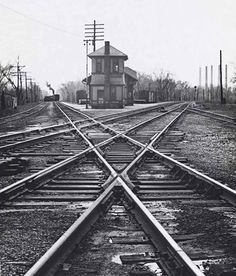 Pennsy and Monon crossing at Limedale, Ind. An interlocking tower and station are nestled between the tracks where the Monon crosses the two tracks of the Pennsylvania Railroad.