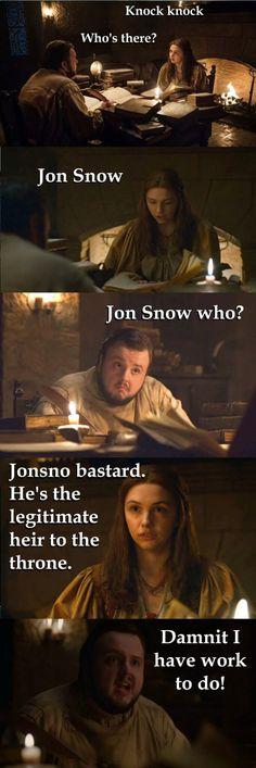 Game of thrones season 7 funny humour meme, Samwell Tarly, Gilly, Jon Snow