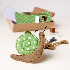Make Your Own Snail Keyring Kit - Sewing Kit