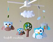 Baby Crib Mobile - Baby Mobile - Yellow and Gray Baby Mobile - Owl Mobile - Neutral Mobile. $135.00, via Etsy.