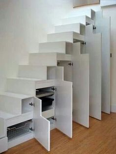 Tiny House Furniture Staircase Storage, Beds & Desks One of the most important parts of tiny houses and living in small spaces is furniture. With the right or wrong furniture, you can either make your tiny house awesome and comfy or crowded and Staircase Storage, Stair Storage, Closet Storage, Loft Staircase, Staircases, Basement Stairs, Stairs With Storage, House Stairs, Basement Storage