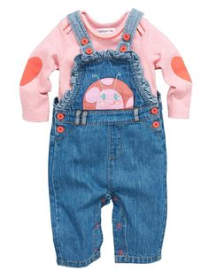 Baby Girls 2-Piece Denim Frill Dungarees and T-shirt Set, http://www.woolworths.co.uk/ladybird-baby-girls-2-piece-denim-frill-dungarees-and-t-shirt-set/1458041745.prd