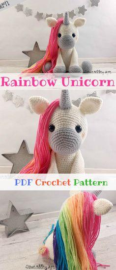 Rainbow Unicorn Amigurumi. Make your own adorable unicorn with rainbow hair. All girls love unicorns right? #unicorn #ad #amigurumi #pattern