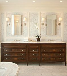 mirrors and cabinetry