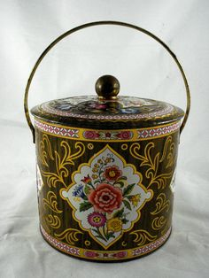 "Vintage large lithographed Floral tin box w handle tea candy biscuits England 7"" uk.picclick.com"