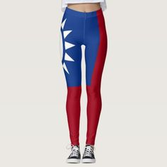 Shop Flag of Taiwan Republic of China Leggings created by worldcuprugby. Taiwan Flag, Party Flags, Leggings Fashion, Look Cool, Dressmaking, Things That Bounce, Hand Sewing, Kids Outfits