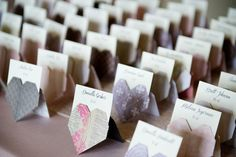 DIY Origami Heart Escort Cards - instead of using for escort cards, use for food labels Wedding Name, Wedding Place Cards, Diy Wedding, Wedding Reception, Dream Wedding, Diy Origami, Heart Origami, Origami Hearts, Origami Boxes