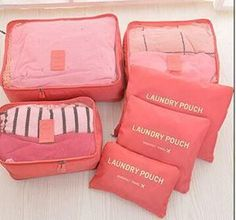 6pcs/set Travel Accessories Fashion Waterproof Polyester Men and Women Travel Packing Organizer Bags