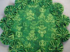 Green ToneonTone Yo Yo Doily/Candle Mat by SursyShop on Etsy, $8.00