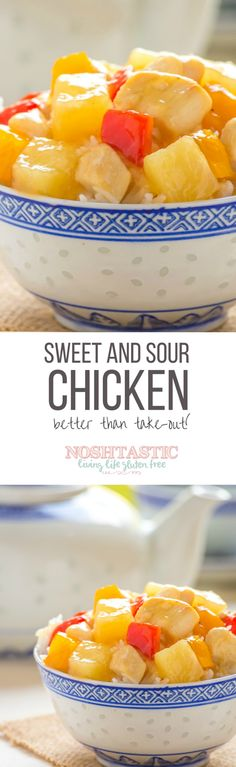 A really easy gluten free Sweet and Sour Chicken recipe that is cooked in LESS than 15 Minutes, perfect for a weeknight family meal and so much better than takeout!