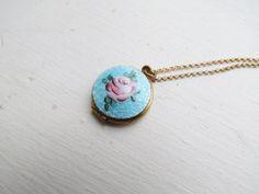 Vintage Rose Guilloche Enamel Locket c.1960s by LUXXORVintage, $88.00
