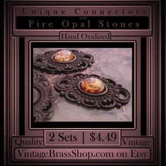 RARE OLD 8x6 FILIGREE CONNECTOR SETTINGS    Plus Old 8x6 Fire Opal Art Glass Cabochons Included Free    Note: Stones will be loose (unset).    Qualifies for $2.75 MAX USA Shipping w/ free add-ons of 175+ items in shop.    For flat back stones/cameos measuring 8x6 oval.    Overall, each connector measures a tad over 1 inch long by about 5/8ths.    Naturally occurring patina...deep brown.    2 Settings Plus 2 Stones = $4.49    These old settings are high quality solid brass. Lightweight but…