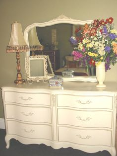 French Provincial Bedroom Furniture Redo 1960s bonnetsears dresser makeover with homemade chalk paint