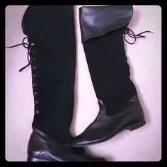 Reduced -  Over the knee (or not), very sexy Leather, and swede boots that could be worn over the knee or the top part of the boot folds down. Very sexy, and comfy! Made in Portugal. Leather upper. Shoes Lace Up Boots