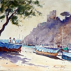 Artist: Annee Kelly Title: Monterosso Afternoon Italy - watercolours