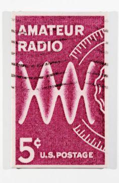 1964 amateur radio postage stamp enlarged on canvas